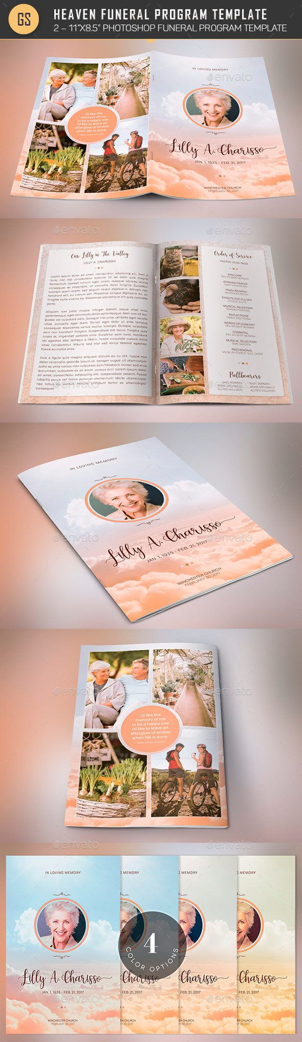 Heaven Funeral Program PSD Template by Godserv2 Heaven Funeral Program PSD Template is for showcasing many images of your loved one. Use 9-10 imagesof family members and the hobb
