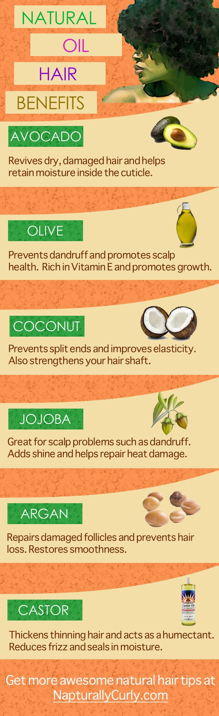 Discover the specific benefits of each natural oil on natural hair. Get hot oil treatment tips here http://napturallycurly.com/hot-oil-treatments-on-natural-or-transitioning-hair/