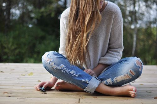 long hair: A Mini-Saia Jeans, Ripped Jeans, Sweaters, Fashion, Style, Long Hair, Outfit, Longhair, Boyfriends Jeans