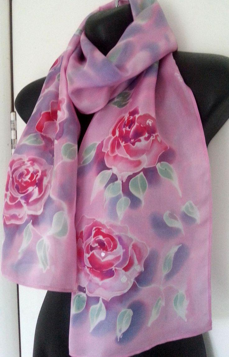 La Vie en Rose, ROSE Silk Scarf Hand Painted, Monet Impressionist pastel, Pink Rose flowers, New Zealand handmade, Dusky Pink, Card included by KiwiSilks on Etsy