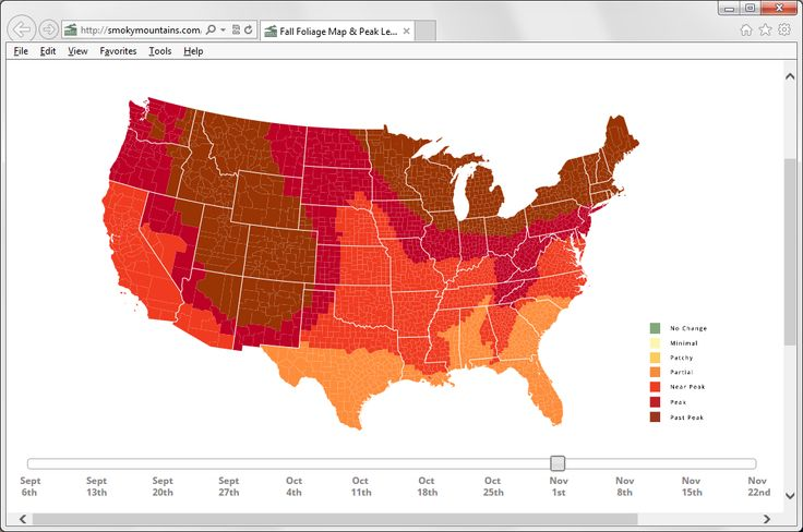 Fall Foliage Map, showing progression of leaf color change. Move the slider to choose a date and see the results.