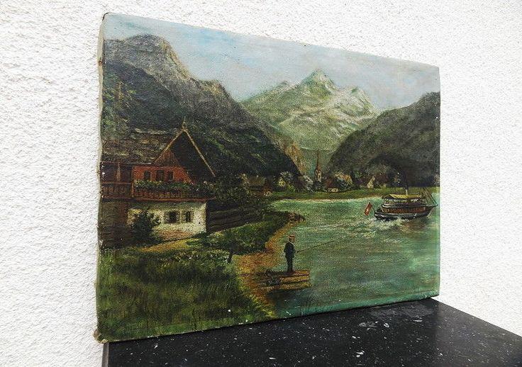 ANTIQUE (Century cca.19th) ORIGINAL OIL PAINTING ON CANVAS SWISS LANDSCAPE