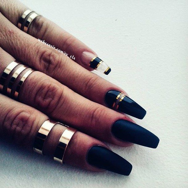 Image result for gold and black coffin nail designs