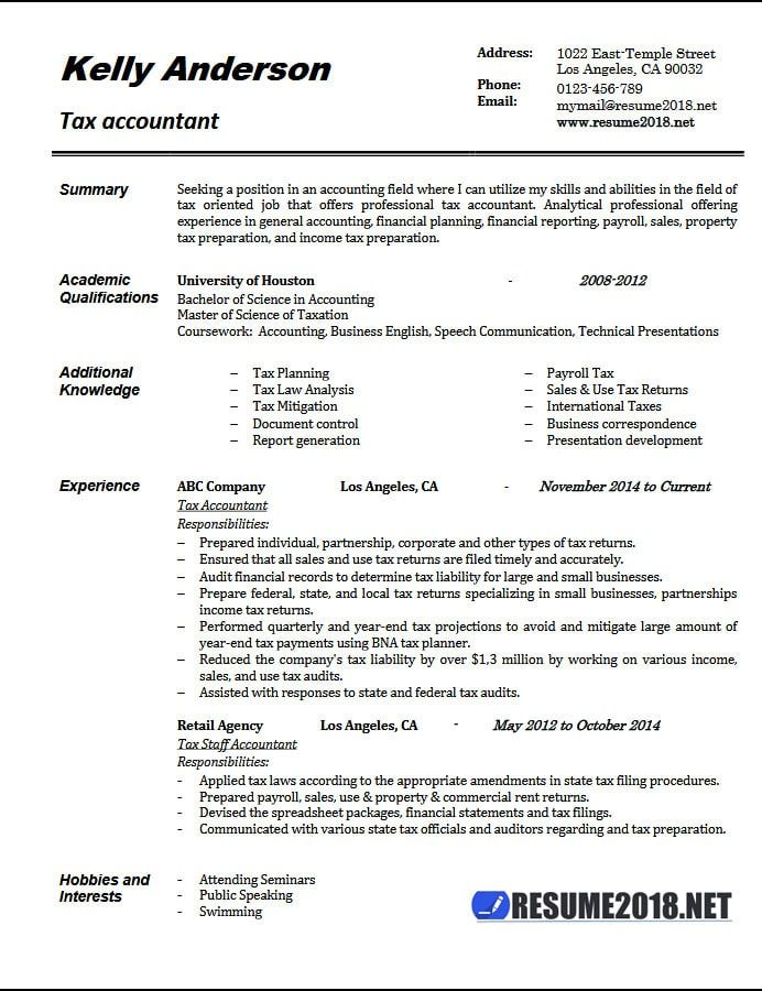 Template 2018 3-Resume Format Accountant resume, Resume