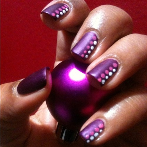Cute Easy Nail Designs Using Tape: Easy - Purple Polish With Dots Nail Art Design