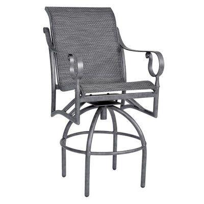 "Woodard Ridgecrest Sling Swivel Bar Stool Seat Color: Chocolate Flex Sling, Seat Height: 29"""