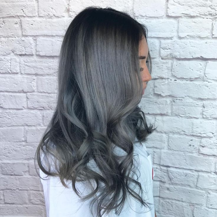 Dark Grey Hair With Black Roots In 2019 Pinterest And Dyed
