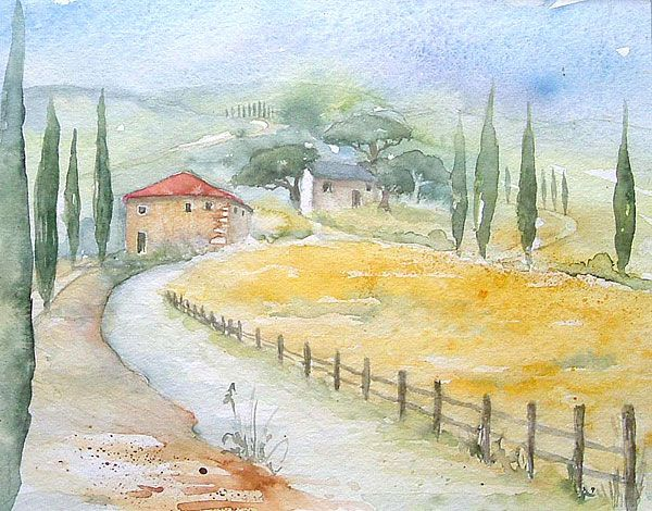 Sommer In Der Toskana Landschaft Gemälde Landschaften