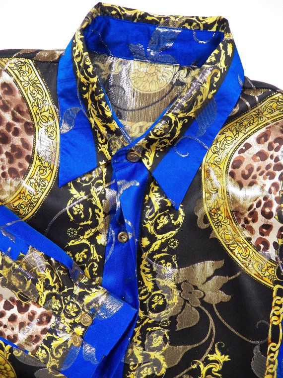 versace italy style mens large silk metallic blue by style1000