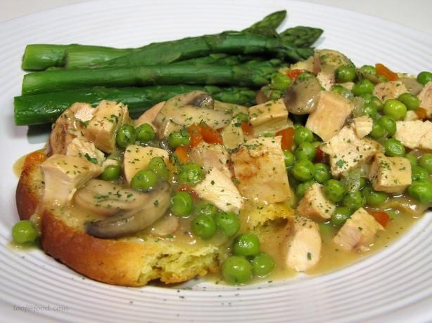 Rachael Ray s Long Live the Chicken a La King - I make this but serve over instant mashed potatoes - so good