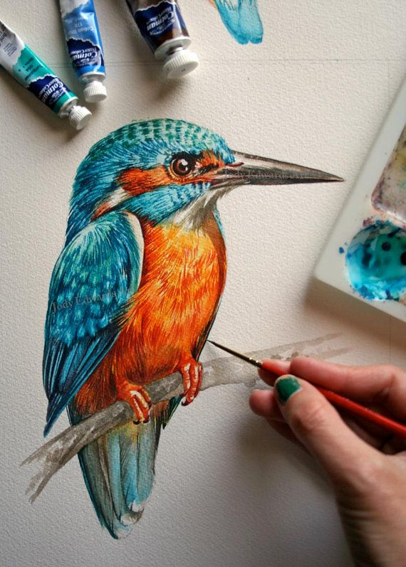 Kingfisher painting - Original watercolor