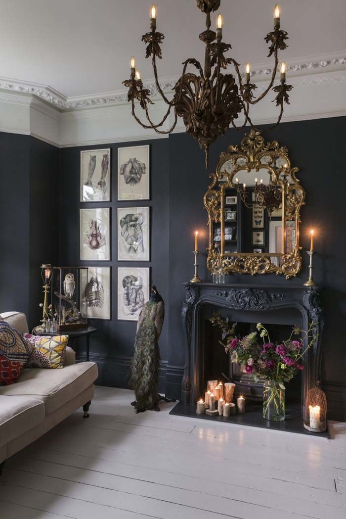 Perfect Charming Glam Boho   Black Walls With White Painted Floor Boards With  Gothic Glam Accents Including An Ornate Gold Mirror  I Love The Taxidermy  Peacock Amazing Pictures
