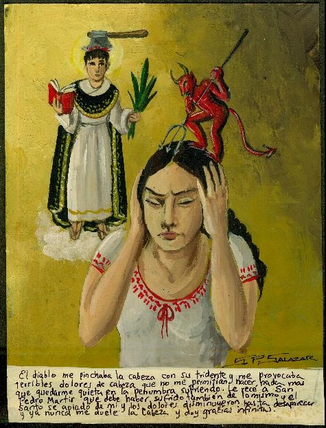 Retablos Mexicanos. Thank you Saint Peter fro curing my headaches (migraines?)
