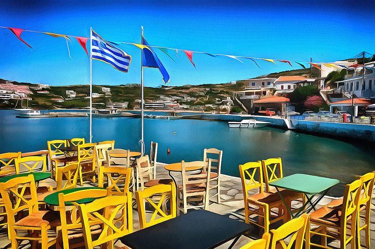 Restaurants by the sea. Batsi, Andros.
