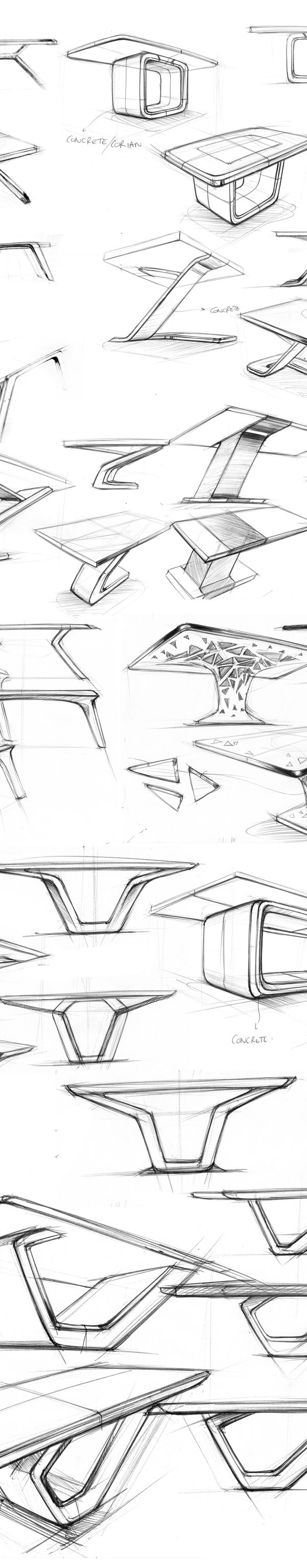 MARBLE TABLE SKETCHES WIP - 2014 by Marc TRAN, via Behance