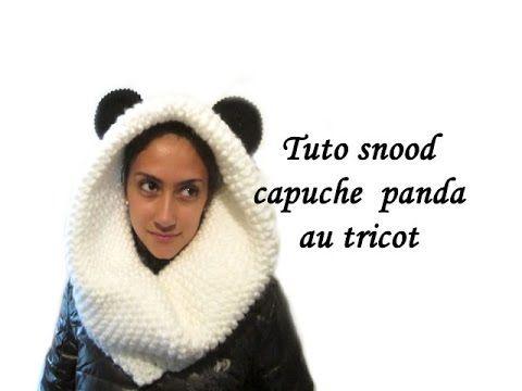 TUTO TRICOT SNOOD CAPUCHE OREILLES PANDA TRICOT Oreilles : - 20 mailles - 17m -14m x3 -17m -20m Puis recommencer 17m,14mx3, 17m, 20m sur au moins 5 répétitions