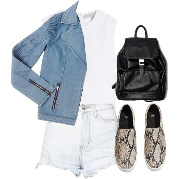 A fashion look from June 2014 featuring dVb Victoria Beckham tops, Glamorous shorts and H&M sneakers. Browse and shop related looks.