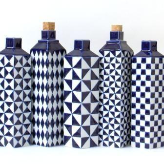 Gorgeous blue and white vases by dutch ceramist Corien Ridderikhoff