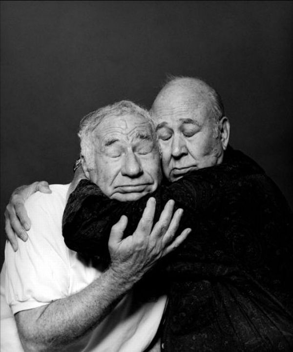 (There are some other great snaps in this set but this one is beautiful. ) Mel Brooks and Carl Reiner hugging. Surprisingly touching...