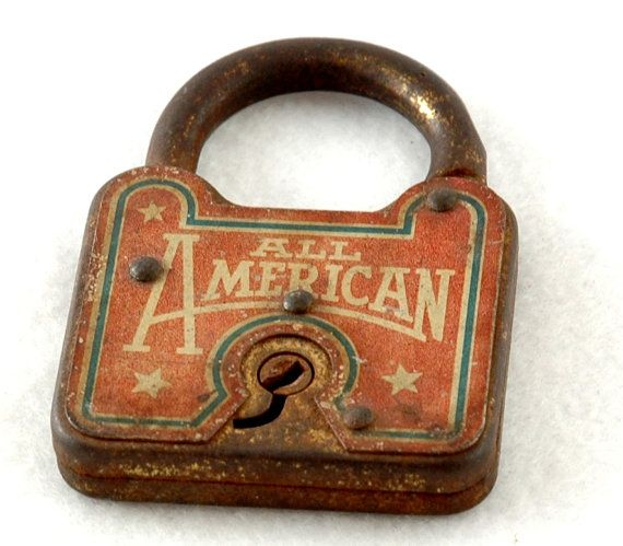 old rusty All American vintage antique lock by FindingBrooke