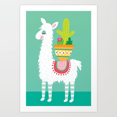 Alpaca and Cactus Art Print by lauramayes - $18.00