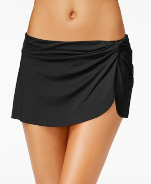 Anne Cole Solid Sarong Swim Skirt - Black XS