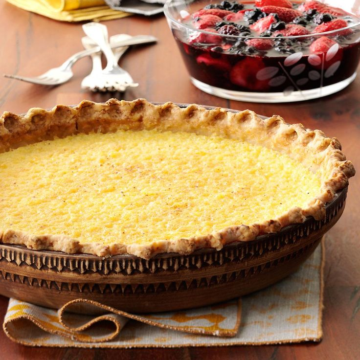 Lemon Chess Pie with Berry Sauce Recipe -This is one of those old-fashioned Southern desserts that makes everyone feel good. The easy-as-pie berry sauce gives it color and a tantalizing tang. —April Heaton, Branson, Missouri