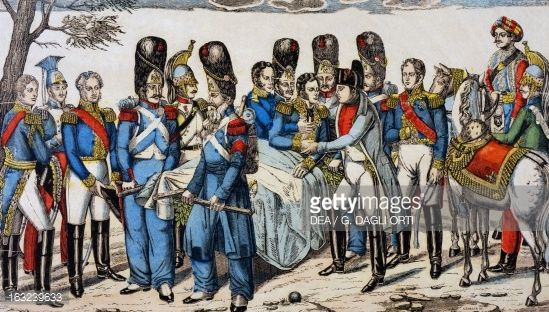 Napoleon I at Marshal Geraud Christophe Michel Duroc's head as he is dying , May 22 popular print by Jean-Charles Pellerin , Epinal. Napoleonic wars, Germany, 19th century.