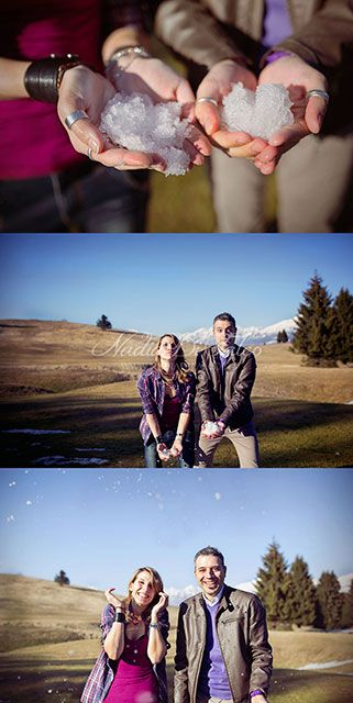 funny winter shoot by Nadia Di Falco #love #engagement #photography #winter #snow #mountain