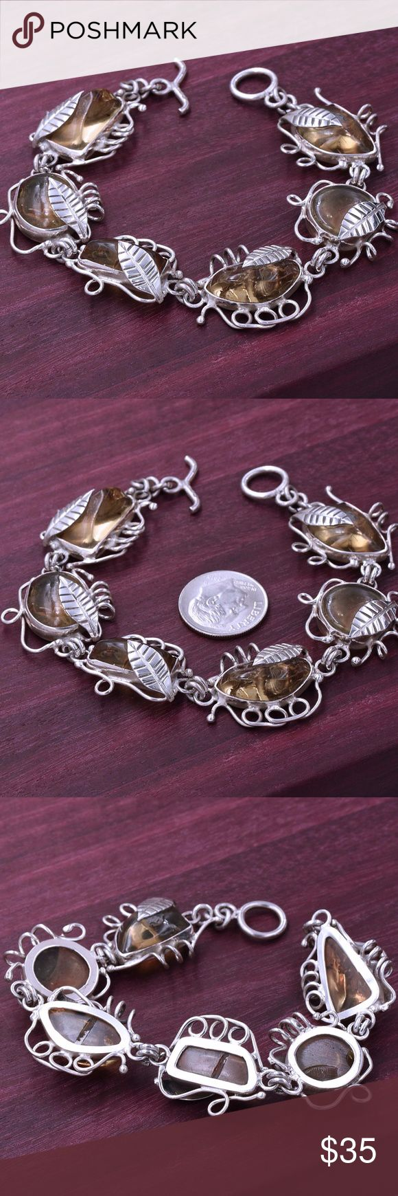 "‼️Clearance‼️Fall 925 Amber Bracelet Stamped ""925"". Sterling silver is an alloy of silver containing 92.5% by mass of silver and 7.5% by mass of other metal, like copper. The sterling silver standard has a minimum millesimal fineness of 925. All my jewelry is solid sterling silver. I do not plate. Hand crafted in Taxco, Mexico. Will ship within 2 days Jewelry Bracelets"