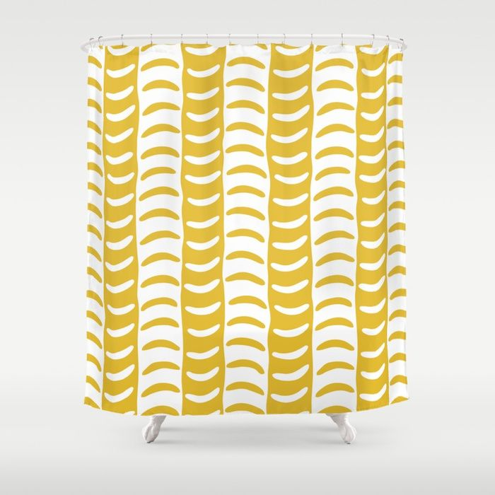 Buy Wavy Stripes Mustard Yellow Shower Curtain By Tonymagner