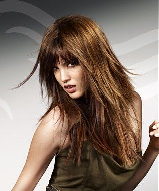A long brown straight choppy Party hair hairstyle by Wella- Too shaggy looking? But could possibly look good whether I do it or not?