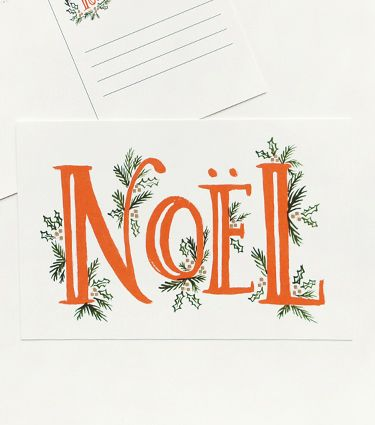 Noel Postcards | Rifle Paper Co. I've become a big fan of postcards; they seem a neat cross between the traditional hand-written greeting and the brevity of modern e-communication.