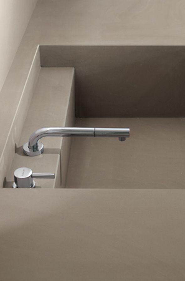 Close up, concrete kitchen sink by MK Cucine _