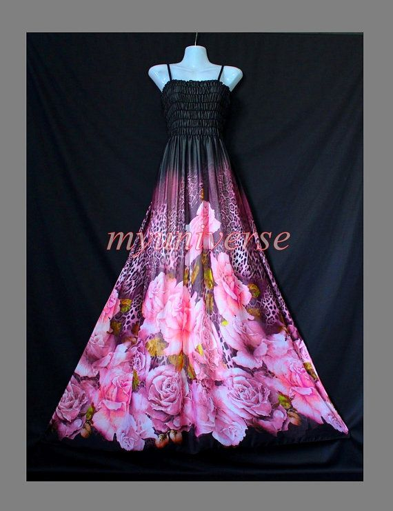 Black Maxi Dress  Wedding Gown Pink Bridesmaid Dress by myuniverse, $55.00