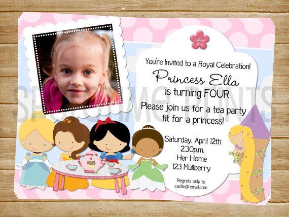 25 best ideas about Princess birthday invitations – Disney Princess Tea Party Invitations
