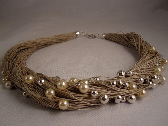 Argent de perles fantaisie collier fil de lin de par espurna88