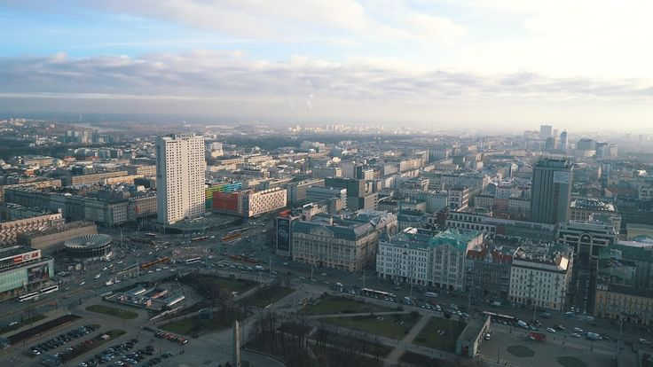 WARSAW - PANORAMIC VIEWS FROM PALACE OF CULTURE AND NYE SHOPPING