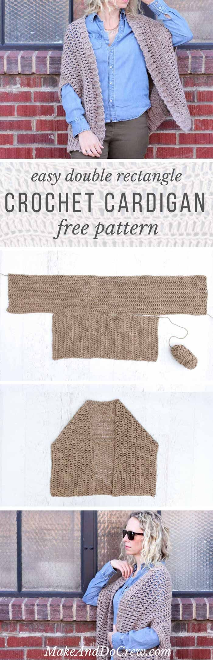 This free crochet sweater pattern is made from two simple rectangles! Great for beginners looking to expand their skills and make a cardigan via @makeanddocrew