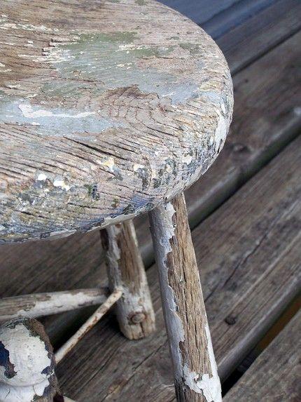 Old Chippy Wood Milk Stool