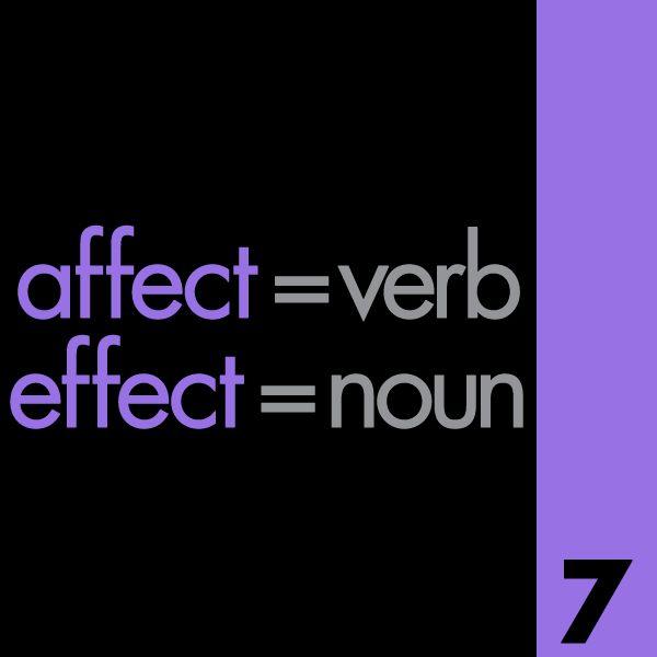Affect, Effect Grammar Mistake
