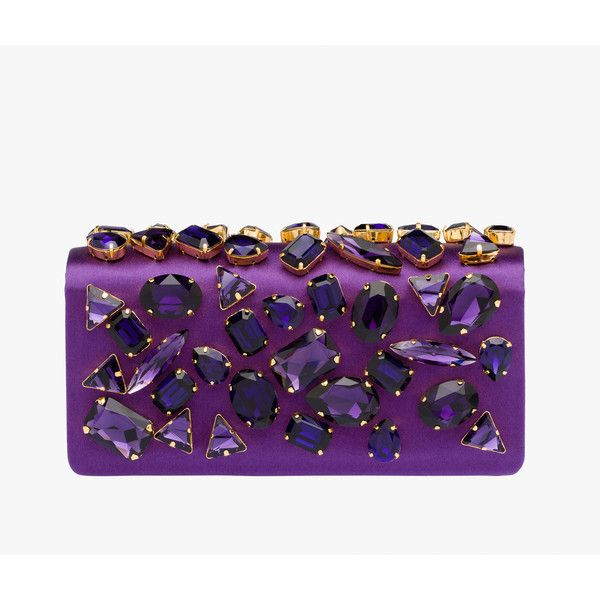 PRADA Clutch ($1,630) ❤ liked on Polyvore featuring bags, handbags, clutches, purses, purple, women, prada purses, purple handbags, embellished clutches и prada pochette