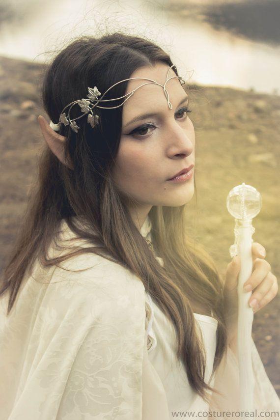 Sindar elven crown tiara bridal circlet in silver with gem- Something like the circlet would be gorgeous on you!