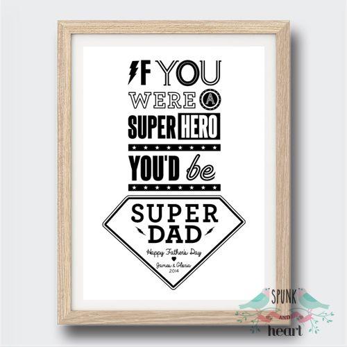 Dad Superhero Print Customisable #father #dad #superhero #wallart #spunkandheart #grandfather