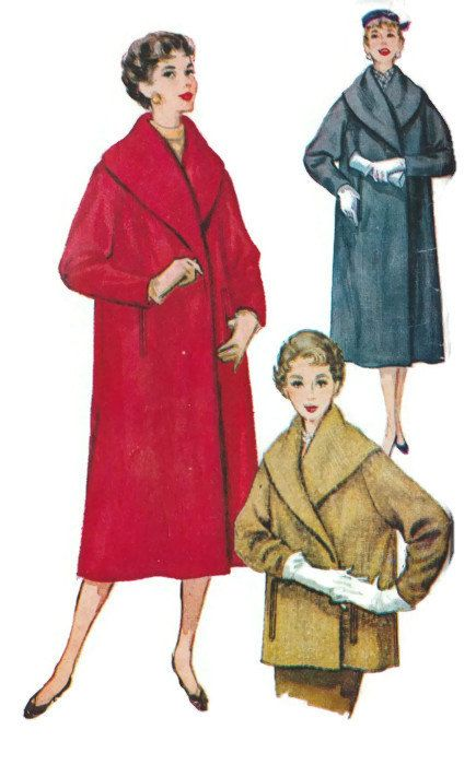 Gorgeous Audrey Hepburn style coat. Misses coat in two lengths. A large shawl collar styles the coat. Long sleeves, tapered at wrist, are