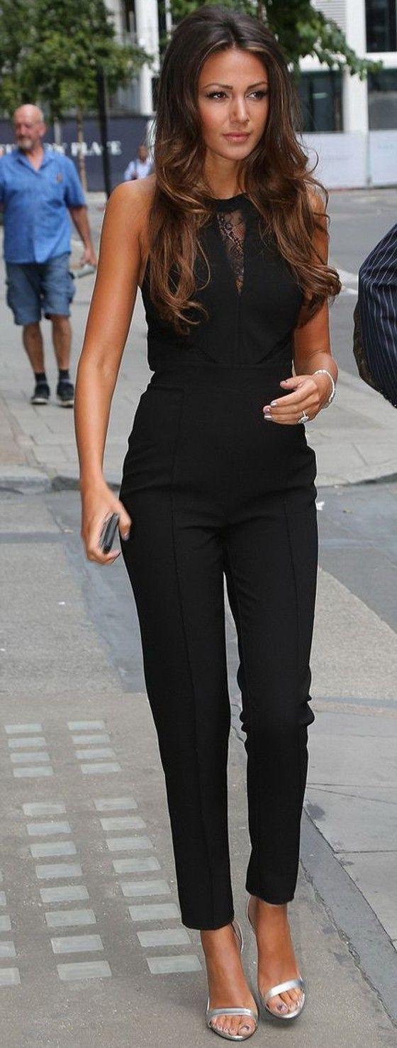 Black Patchwork Lace High Waisted Long Jumpsuit