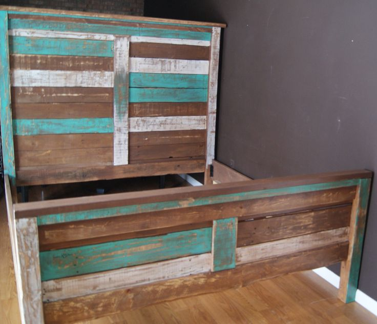 Shabby Chic Reclaimed Queen Bed Set Rustic Headboard