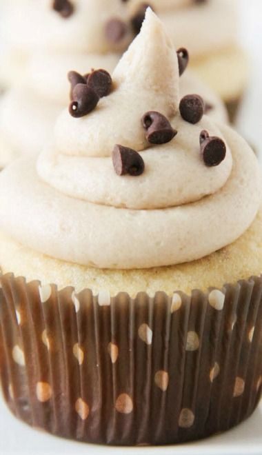 Chocolate Chip Cupcakes with Cookie Dough Buttercream | The Baker Upstairs
