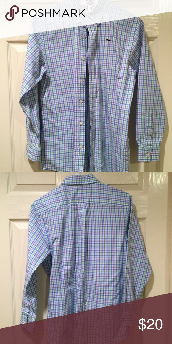Vineyard Vines Ginger Island Gingham Whale Shirt Vineyard Vines Ginger Island Gingham Whale Shirt long sleeve button down shirt.. Color: Multi (green, blue, purple striped gingham). Size. boys Med (12-14). Material: 109% Cotton. Like new. Drycleaned, ready to wear. Vineyard Vines Shirts & Tops Button Down Shirts