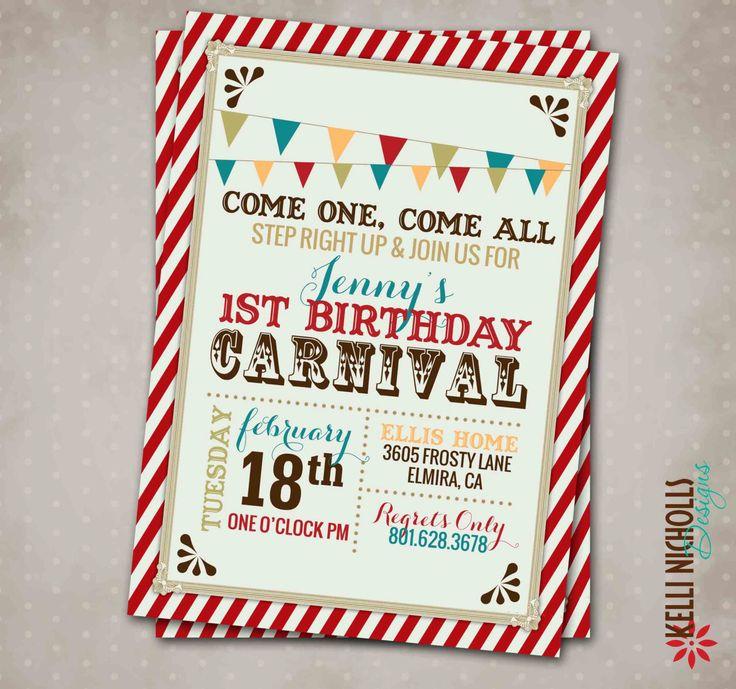 Carnival Birthday Party Invitation, Vintage Circus Party Invite, Custom Printable #B106 by KelliNichollsDesigns on Etsy https://www.etsy.com/listing/197476380/carnival-birthday-party-invitation